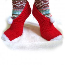 Hand-knitted cotton slippers